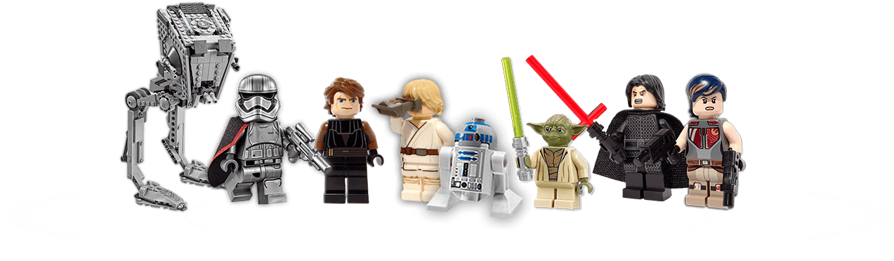 A collection of minifigures including Kylo Ren, Luke Skywalker and Yoda!
